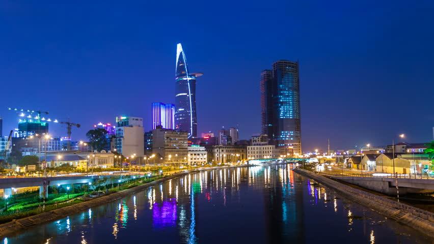 Ho Chi Minh City City Skyline Timelapse at night