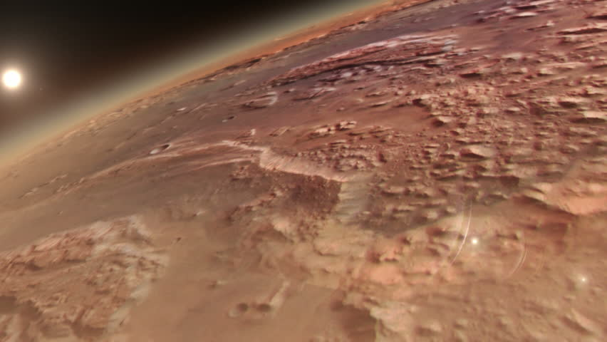 Planet Mars with sunrise in space - HD stock video clip