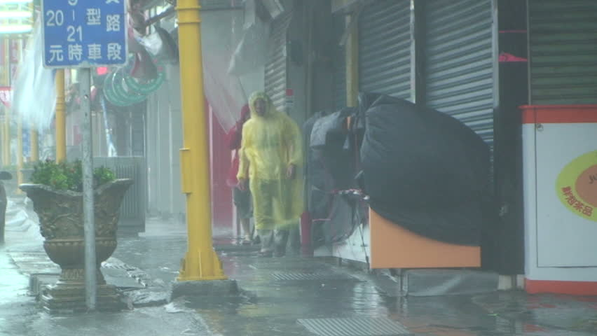 HUALIEN, TAIWAN - AUGUST 2009: Typhoon Morakot lashes Taiwan with torrential rain and strong winds. - HD stock footage clip