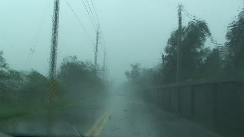 Driving In Severe Hurricane Wind And Rain.