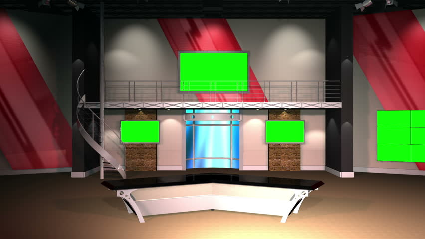 Virtual Set 12 - Establishing Shot Newsroom Studio Background Shot   This is a virtual studio background that can be used in green screen video production to place your presenter into a newsroom. - HD stock footage clip