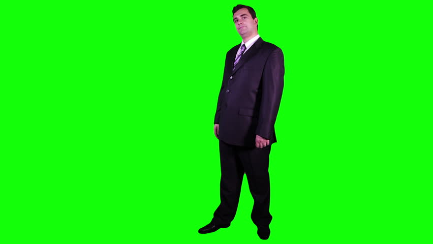 Young Businessman Virtual Board Gestures Full GS