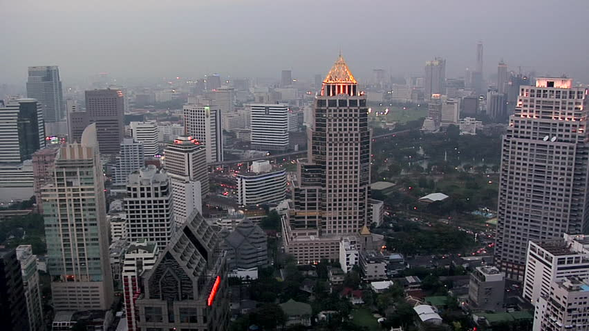Elevated View of the CBD with Buildings of Silom District at Night Fall. | Shutterstock HD Video #3314051