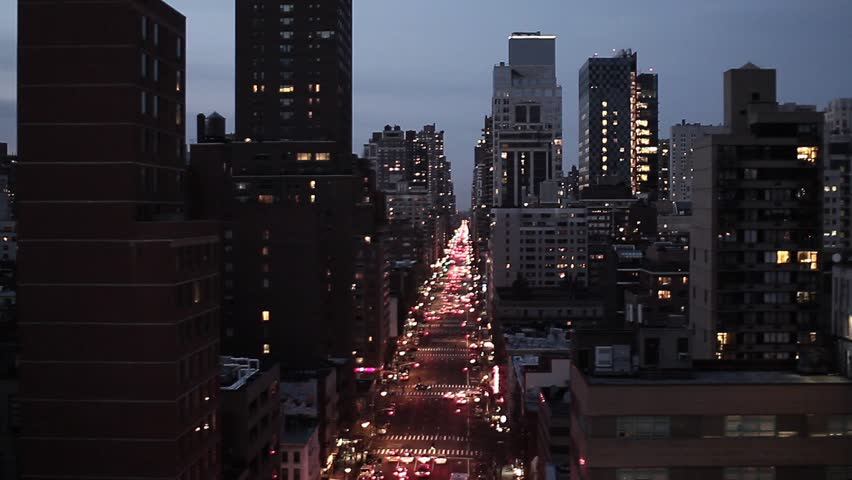 New york city at night. nyc. skyline skyscrapers. night street lights. fly over aerial view | Shutterstock HD Video #3319865