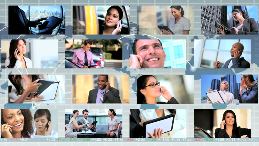 Global montage images featuring city business people using tablet and Smart Phone technology worldwide