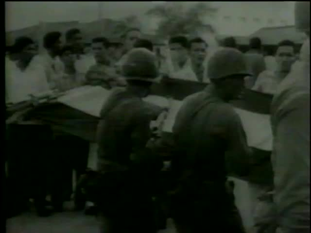 Panamanian students protest over U.S. policies in the Canal Zone Panama circa 1964-MGM PICTURES, UNIVERSAL-INTERNATIONAL NEWSREEL, USA, filmed in 1964   - SD stock footage clip