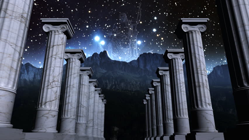 Cosmic scene with greek pillars and the ancient god Zeus
