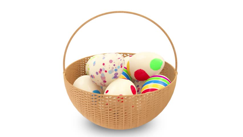 Animation of Painted Easter Eggs in a Basket. Seamless looping HD Video Clip with Alpha Channel  - HD stock footage clip