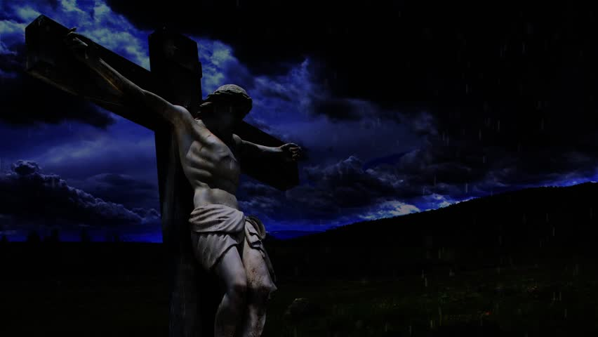 Heaven Weeps - with text - Video that includes Jesus on the cross with roiling clouds, lightning, wind, and rain with an animated scriptural message about God weeping  - HD stock video clip