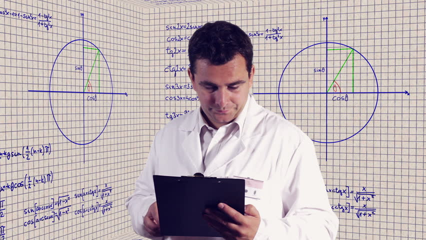 Scientist Checking Documents Scientific Mathematics Background - HD stock footage clip