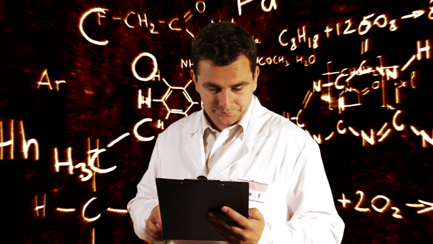 Scientist Checking Documents Scientific Chemistry Background - HD stock video clip