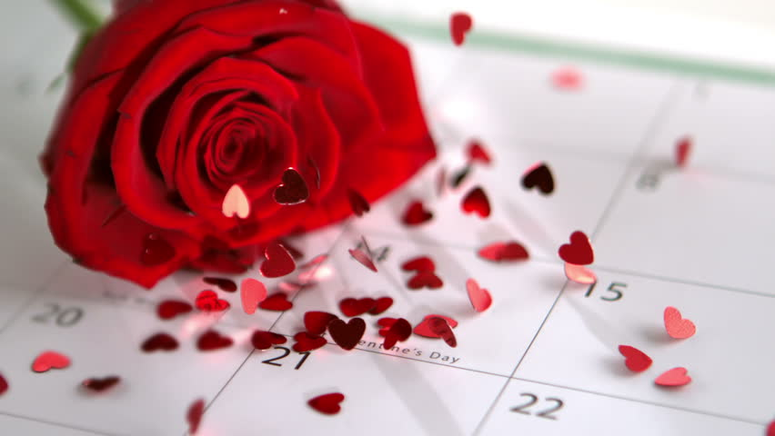 Confetti falling on red rose and calendar showing Valentines day in slow motion