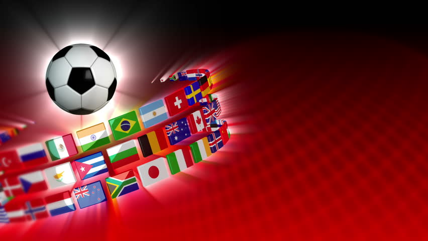Soccer International Flags Sport Background 54 (HD) - HD stock footage clip