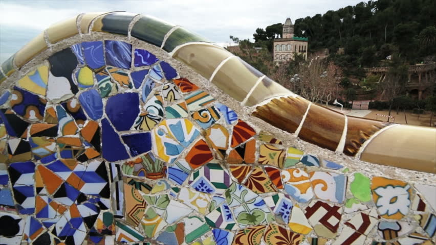 SPAIN, BARCELONA - CIRCA JANUARY 2013 Detail of the mosaics in bench at the park Gell of the arquitect Gaudi in Spain