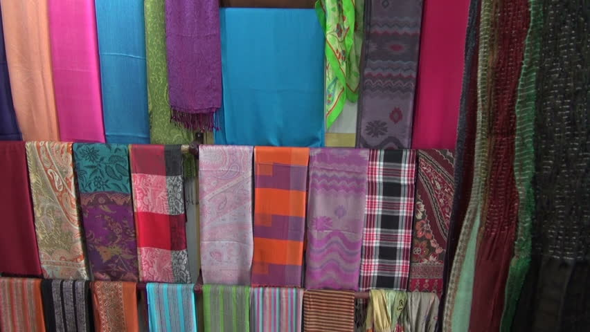 colorful shawls in asia market, India - HD stock footage clip