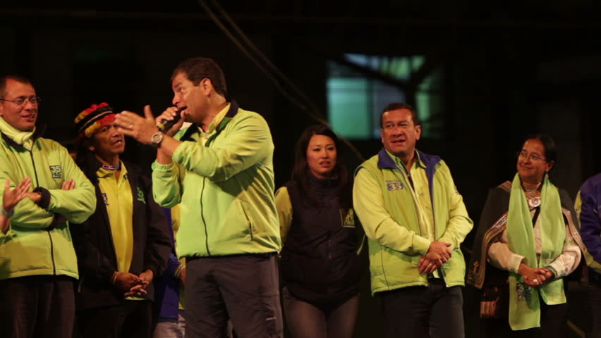 BANOS DE AGUA SANTA, ECUADOR - JANUARY 21: President of Ecuador Rafael Correa gives campaign speech in Tungurahua province, Ecuador on January 21, 2013. - HD stock video clip