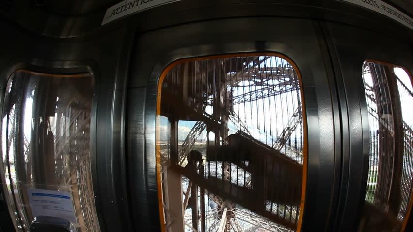 inside the elevator of eiffel tower stock footage video. Black Bedroom Furniture Sets. Home Design Ideas