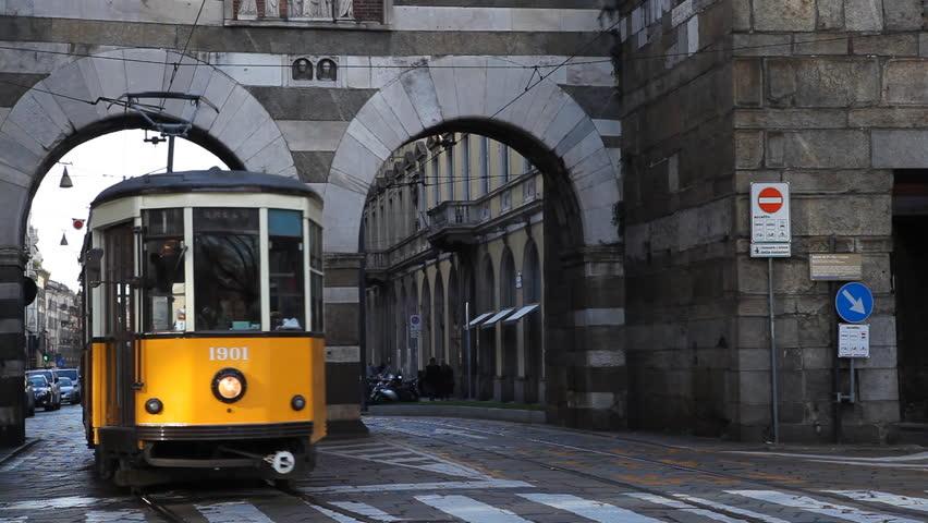 MILAN, ITALY - DECEMBER 29, 2011 Old Tramway Traffic on via Manzoni