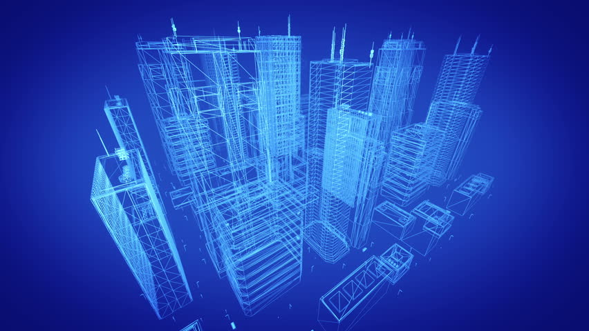 Architectural blueprint of contemporary buildings, blue tint.