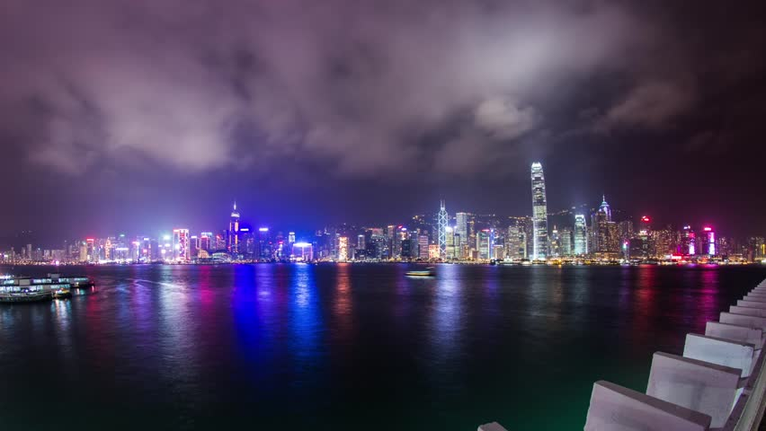 HONG KONG - CIRCA DECEMBER 2012: Time Lapse of cloudy night at Victoria Harbor in Hong Kong. Photo Sequence shot on DSLR camera and Post-Production in After Effects | Shutterstock HD Video #3426533