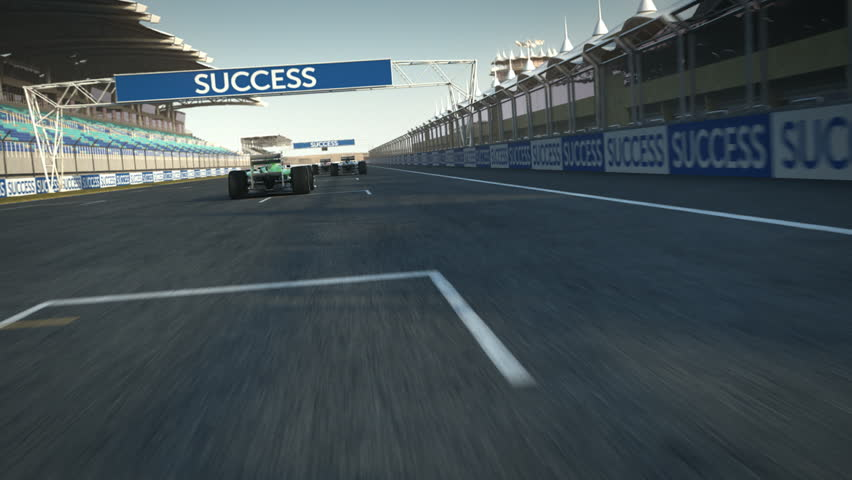 Formula one racecars crossing finishing line - POV - high quality 3d animation - visit our portfolio for more  | Shutterstock HD Video #3426911
