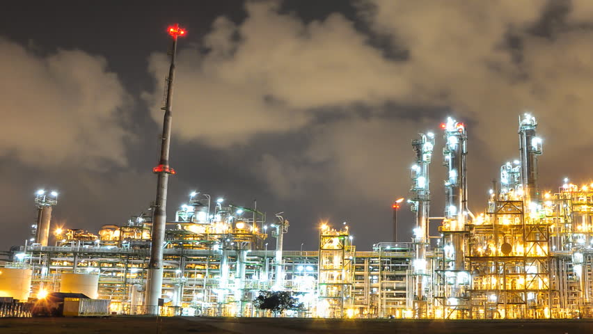 Night scene of Oil and Chemical Plant - Time Lapse - HD stock video clip