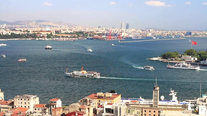 Aerial view to Bosphorus, Istanbul. Looking over Karakoy Port to Haydarpasa