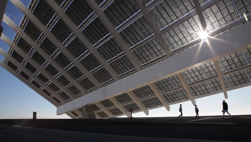 Large solar energy panel in the forum area in barcelona spain stock footage video 3438854 - Solar barcelona ...
