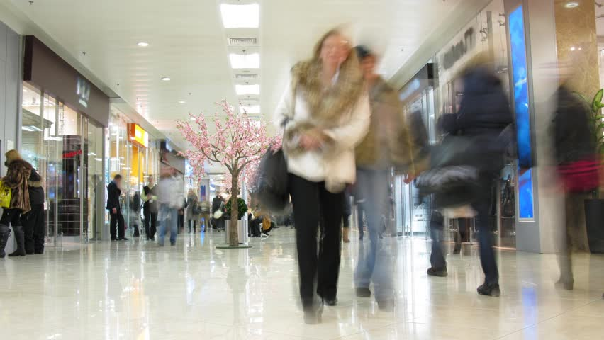people in shopping corridor, time lapse  - HD stock video clip