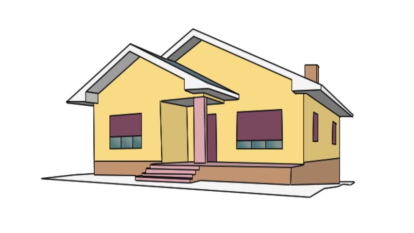 Drawing of a house stock footage video 3450041 shutterstock for Drawing of small house