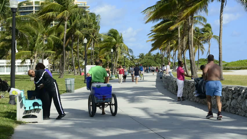 MIAMI BEACH - CIRCA DEC 2012: Time Lapse of Miami Beach Pedestrians Circa Dec 2012 - HD stock video clip