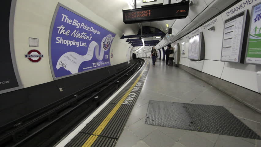 LONDON - OCTOBER 9, 2011: Underground train station in London