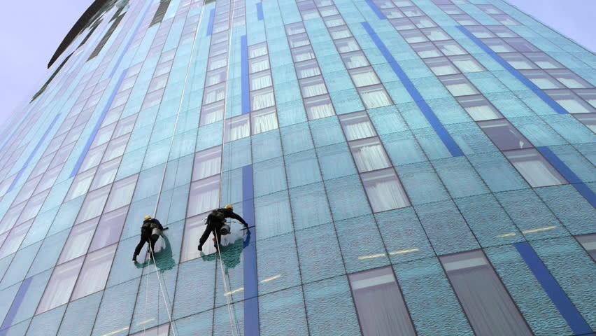 Skyscraper Window Glass Cleaner Stock Footage Video