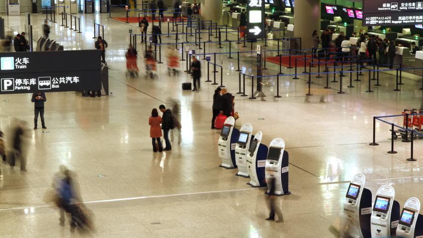 SHANGHAI - DECEMBER 22: Time lapse of Shanghai Hongqiao Airport Terminal on