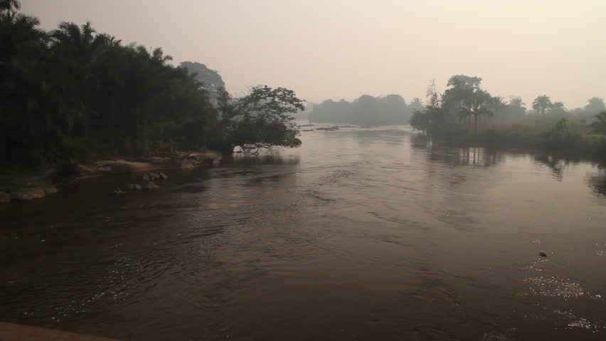 jungle river with haze - HD stock video clip