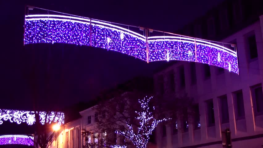 Christmas Lights - Street Decoration -  Market Square, Staffordshire, England - HD stock footage clip
