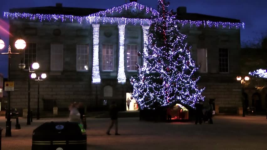 Christmas Tree and Civic Building -  Shire Hall, Market Square, Staffordshire, England - HD stock footage clip