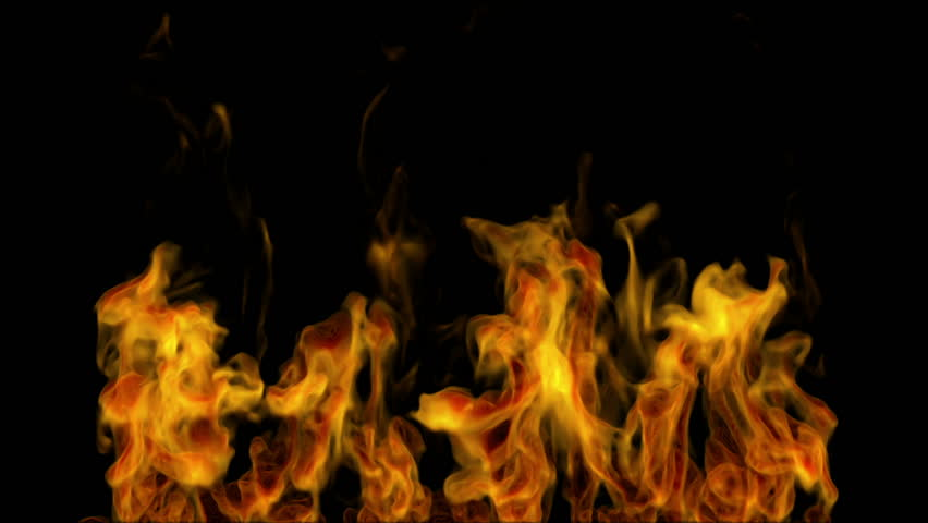 igniting fire isolated on black background. Alpha-channel included - HD stock footage clip