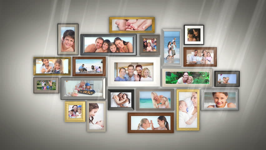 Montage of families having fun together presented in picture frames on grey wall - HD stock video clip