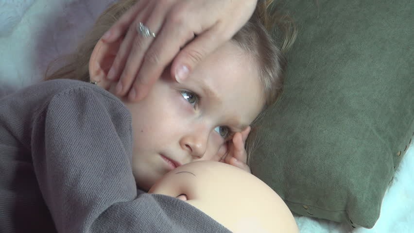 Sick Child, Mother Nursing, Petting her Little Girl, Kid Watching TV, Children - HD stock footage clip