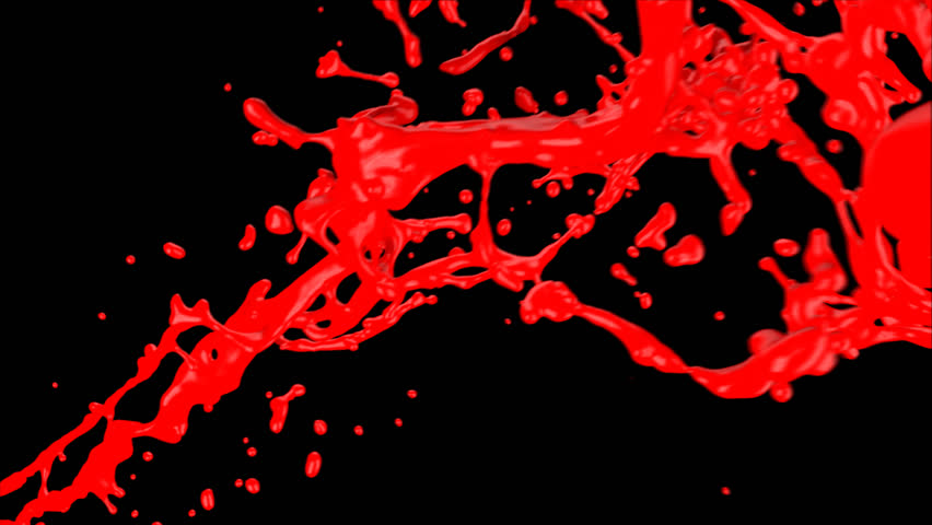 red paint splash, isolated on black (FULL HD)