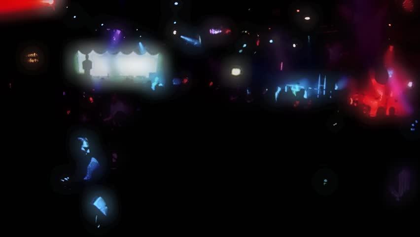 Nightclub dancing and flashing lights