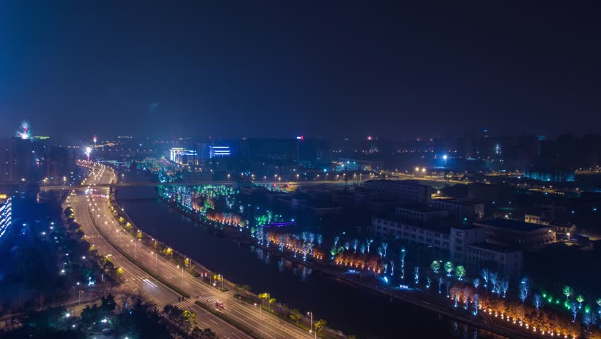 Time Lapse Firework and City Light Turn Off on Chinese New Year in Shanghai, China. Photo Sequence from DSLR camera and Post production in After Effects