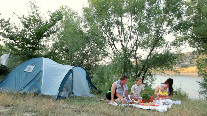 Family Summer Camping Vacation Stock Footage Video 3571157 ...