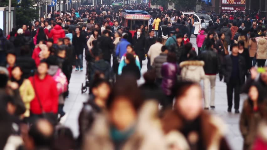 Time Lapse of Busy Crowds Traffic on Nanjing Road, Shanghai, China
