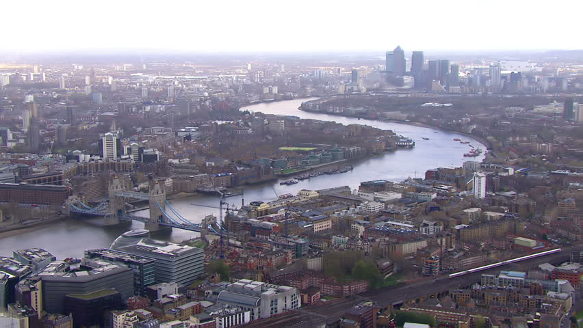 Stunning panoramic aerial view looking over the city of London and the River Thames on a bright day