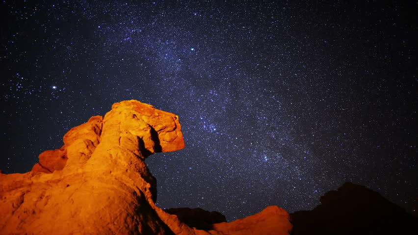Milky Way 05 Timelapse Dolly Mojave Desert California - HD stock footage clip
