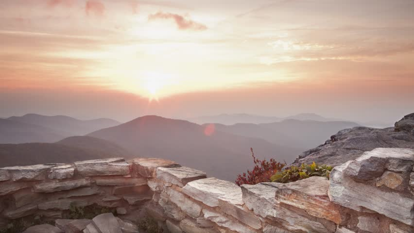Sunset time-lapse with stone wall from Blue Ridge Parkway