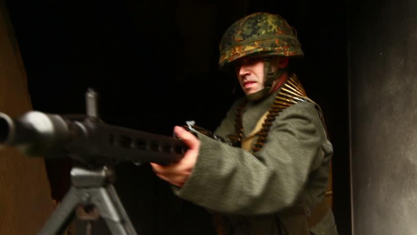 Machine gun soldier in position