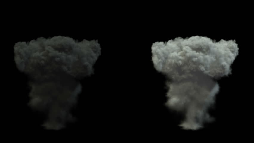Mushroom smoke cloud after explosion. alpha channel | Shutterstock HD Video #3597569